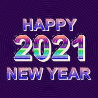 Happy 2021 new year celebration multicolored banner design