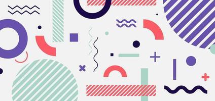 estilo minimalista patrón geométrico abstracto púrpura, rosa, azul sobre fondo blanco vector