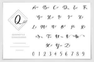 Hand drawn alphabet written with brush pen. vector