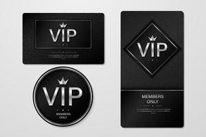 VIP party premium invitation cards posters flyers. Black and silver design template set. vector