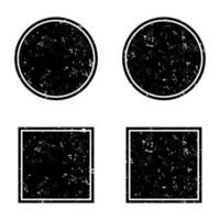 Grunge black round and square frames, distress banners vector