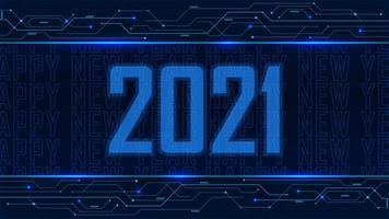 2021 happy new year blue glowing digital background