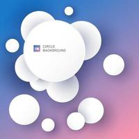 White circles overlapping with shadow on blue and pink gradient background. vector