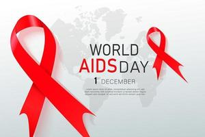 Hiv Awareness Red Ribbon. World Aids Day concept. Modern vector Illustration