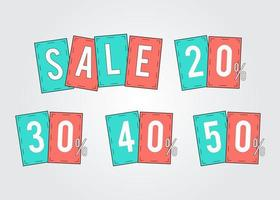 Sale tags promotion percent off 20, 30, 40, 50 stickers, labels