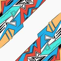 Urban Graffiti drawing style, abstract geometric futuristic bright background vector