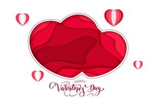 Happy Valentines Day greeting card. 3d paper cut heart concept design background. Vector illustration. Paper carving heart shapes with shadow. February 14.
