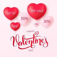 Happy saint Valentine's day background with heart balloons vector