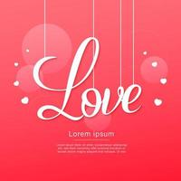Happy valentines day hanging love text with hearts vector