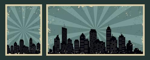 Retro vintage banners with cityscape and grunge effect