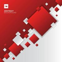 Abstract red and white gradient diagonal separate geometric squares overlapping background technology concept. vector