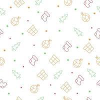 Seamless Christmas pattern with christmas tree, socks, gitf boxes, stars and tree balls