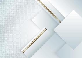 Fondo abstracto elegante cuadrado geométrico blanco y gris superpuesto con rayas doradas. estilo de lujo vector