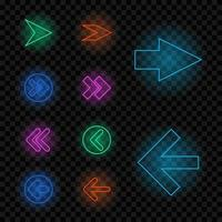 Set of different neon glowing colorful arrows vector