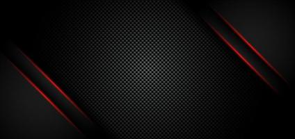 Abstract metallic red shiny color black frame layout modern tech design template on carbon fiber material background and texture vector