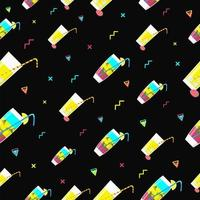 Seamless cocktail pattern with colorful abstract geometric shapes