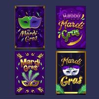 maravillosa tarjeta de mardi gras de máscara de oro púrpura