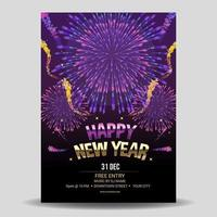 Fantastic Fireworks for New Year Celebration Poster vector