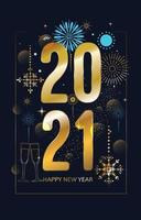 New Year 2021 with Snow Color Sparkle vector