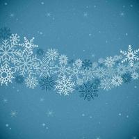 fondo azul y patrón de copo de nieve vector