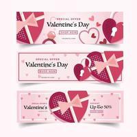 banner de marketing del día de san valentín rosa y morado
