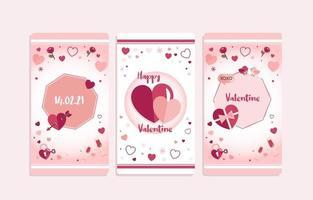 banner de corazón de san valentín rosa y morado