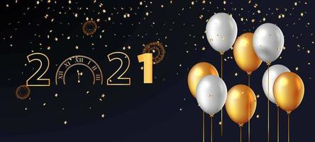 Golden Countdown Clock and Baloon Background vector