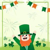 Happy Leprechaun in 3 Leaf Clover Hill Background vector