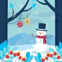 muñeco de nieve en temporada de invierno con nieve vector