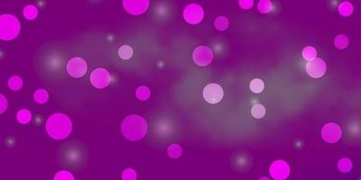 textura de vector púrpura claro con círculos, estrellas.