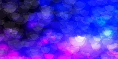 plantilla de vector rosa claro, azul con círculos.