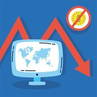 desktop computer with statistics arrow