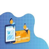 Compras de comercio electrónico en línea con pareja utilizando computadoras portátiles y teléfonos inteligentes con tarjeta de crédito vector