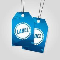 etiquetas comerciales azules que cuelgan con colores vibrantes vector