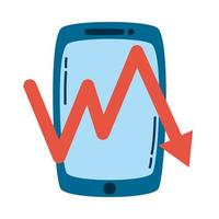 smartphone device technology with arrow statistics vector