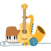 guitar with instruments musical icons