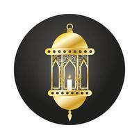lámpara dorada ramadan kareem decoración