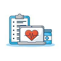 Ordenador portátil con cardio cardíaco y orden de telemedicina.