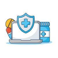 Ordenador portátil con tecnología de telemedicina escudo y drogas