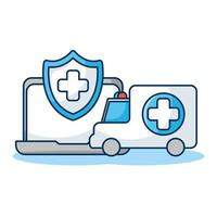 Ordenador portátil con escudo y telemedicina ambulancia vector
