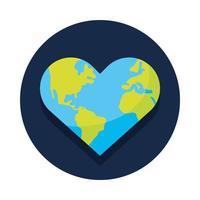 mundo planeta tierra con forma de corazón