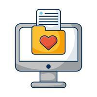 desktop computer with heart folder vector