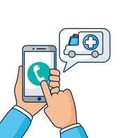 teléfono inteligente con tecnología de telemedicina llamada ambulancia vector