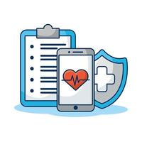 smartphone with shield and order medical vector