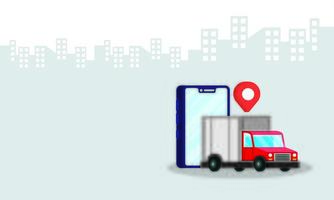 smartphone with truck delivery service