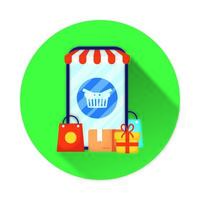 smartphone with shopping basket ecommerce vector