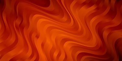 Dark Orange vector background with curved lines.