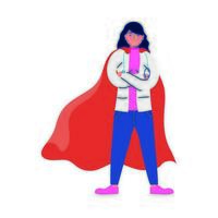 super female doctor with hero cloak vs covid19 vector