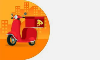 delivery pizza motorcycle isolated icon
