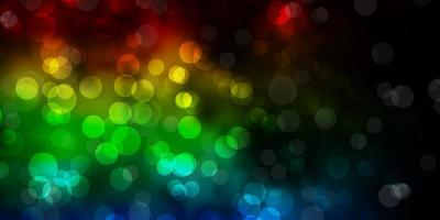 Telón de fondo de vector multicolor oscuro con puntos.